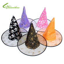 Boy Girl Children Christmas Halloween Witch Hat Witch Wizard Peaked Cap Cosplay Witch Suppliers Unisex Hats Cap Enchanter Stars(China)