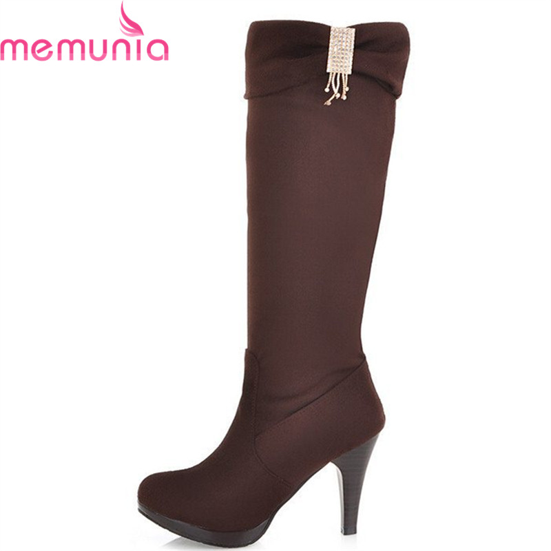 MEMUNIA Hot sale womens boots knee high heels two ways wear spring autumn stiletto high heels shoes woman platform boots<br>