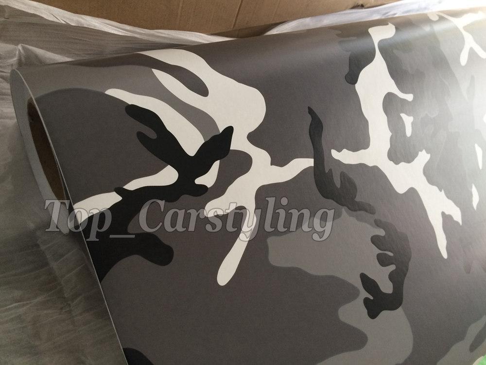 Black white grey arctic camo vinyl car wrapping films (6)
