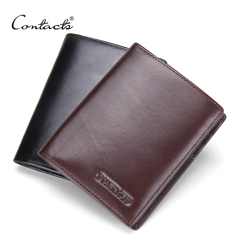 CONTACTS Casual Men Wallets Genuine Leather Male Purse New Design Business Famous Brands Designer Short Wallet With Coin Purse<br><br>Aliexpress
