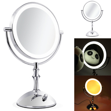 Professional LED Light Brightness Adjustable Makeup Mirror 8 Inch Cosmetic Mirror Double Sided 1/3x Magnifying Bath Mirror