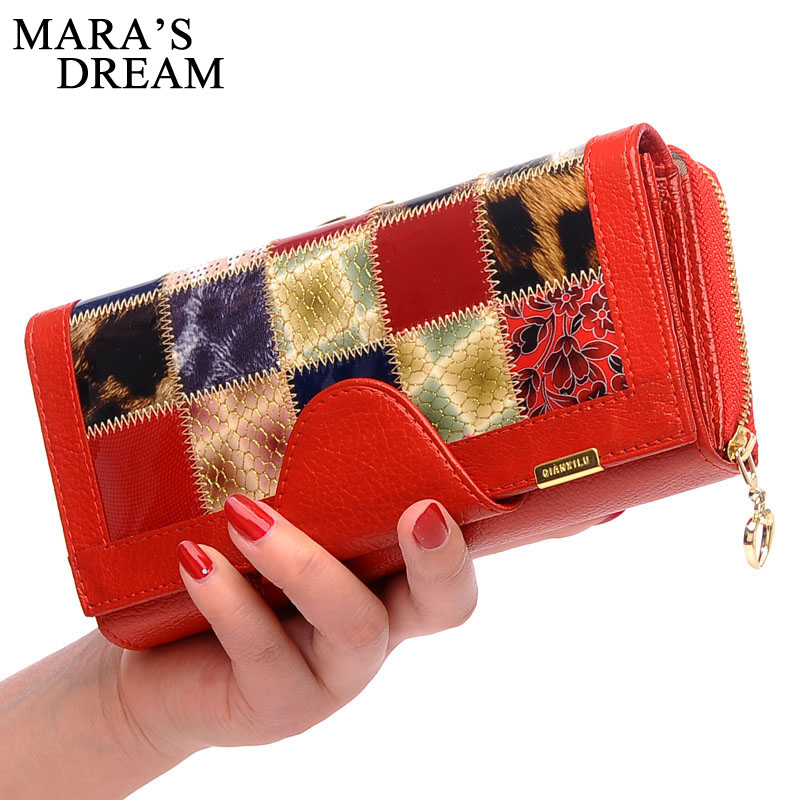 Maras Dream 2017 New Genuine Leather Wallet Female Purse Long Coin Purses Holders Ladies Wallet Hasp Fashion Womens Money Bag <br>