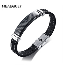 Meaeguet Stainless Steel Cross Bible Charm Bracelet Men High Quality Black Silicone Wristband Religious Prayer Jewelry 13mm Wide(China)