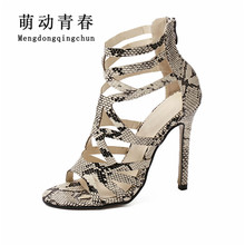 2017 New Gladiator Women Sandals  High Heels Brand Sandals Summer Shoes Woman Sandalias snake super star Ladies Shoes Pumps