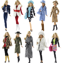 NK One Set Doll Dress Fashion Super Model Coat Modern Outfit Daily Wear For Barbie Doll Accessories Gift Baby Toys Mix Style(China)