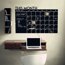 Wall Sticker Monthly Plan Calendar Chalkboard Stickers MEMO Blackboard Vinyl Study Room Wall Stickers for kids Room DIY poster(China)