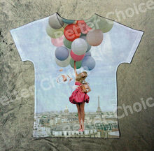 Track Ship+New Fresh Hot T-shirt Top Tee Miss Girl Hug Perfume with Air Balloon in Sky 0418
