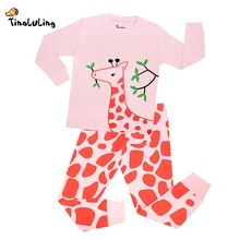 TINOLULING Boys Sleepwear Baby Girls Giraffe Pyjama Kids Tortoise Pajamas Sets Children Cars Nightwear i love mom dad Pijamas(China)