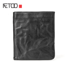 AETOO Small purse male short section of youth simple vintage old leather wallet ladies wallet leather soft vertical section(China)