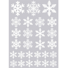 27PCS Christmas Snowflake Window Clings Stickers Reusable Winter Decorations New Year Party decors 27 White(China)