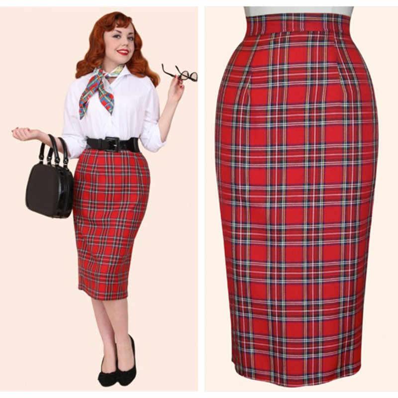 30- women vintage 50s pinup tartan high waist wiggle midi pencil skirt in  red plus 647c62875ea0