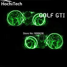 for VW Volkswagen Golf / GTI 1998-2004 RGB LED Headlight Halo Angel Eyes Kit with wireless remote control(China)
