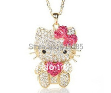 Free Shipping,hello kitty wholesale,hello kitty necklace cheap,hello kitty in pink free jewelry gift-1pcs/lot J00074