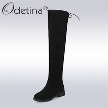 Buy Odetina Sexy Knee High Faux Suede Women Boots Chunky Low Heel Lace Thigh High Boots Winter Warm Shoes Plus Size 43 for $27.99 in AliExpress store