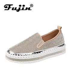 Женские туфли на плоской платформе Fujin, черные или золотистые туфли на плоской платформе, без застежки, украшенные стразами, сезон весна-лет...