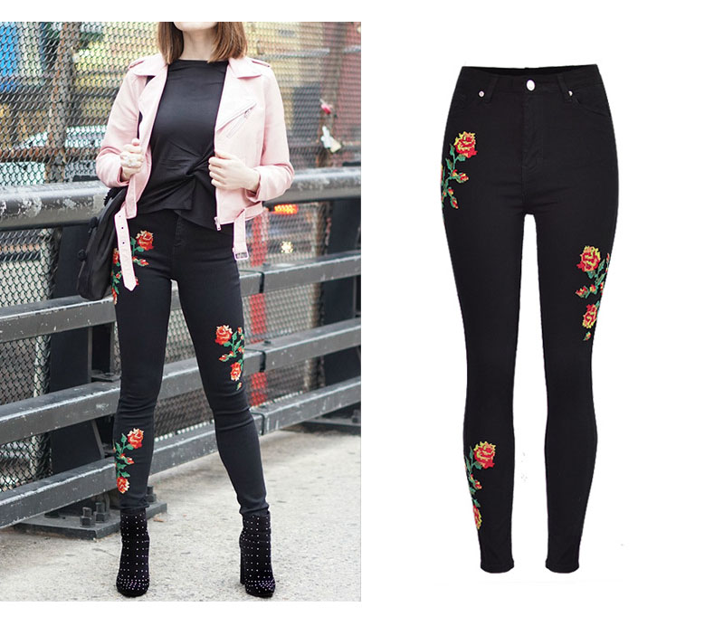 2017 European and American women hot high waist Slim stretch front and rear side cross embroidery roses cowboy pants pants pants (5)