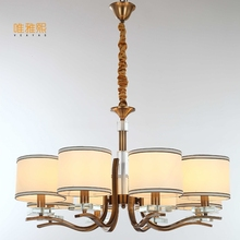 LED modern glod chandeliers the lanterns christmas Fabric lampshade chandelier luxury indoor lighting fixture(China)