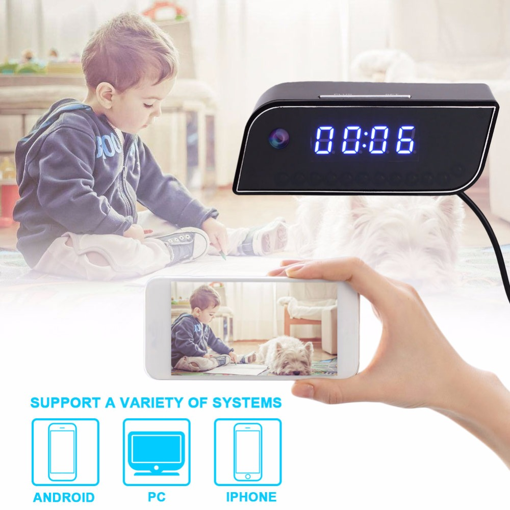 giantree HD 720P Wifi Camcorder Clock Monitor Camera Portable Home Office DVR Security Camera No battery<br>