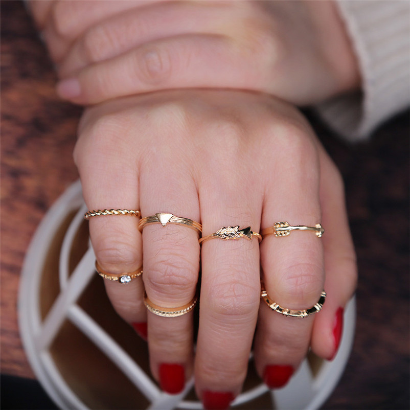 2018 New Arrival Fashion Exquisite Women Bohemian Vintage Silver Stack Rings Above Knuckle Blue Rings for women Ring Set J13#N (3)