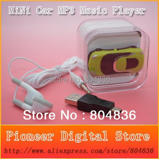 10 pcs/lot mini car style mp3 music player support Micro SD/TF card earphone&mini usb&box 6 colors  -  Pioneer Digital Store store