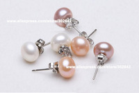 Fresh Water Pearl Earrings 6-10mm Classic Jewelry 925 Silver Summer Novel Lady Exquisite Gift P7062