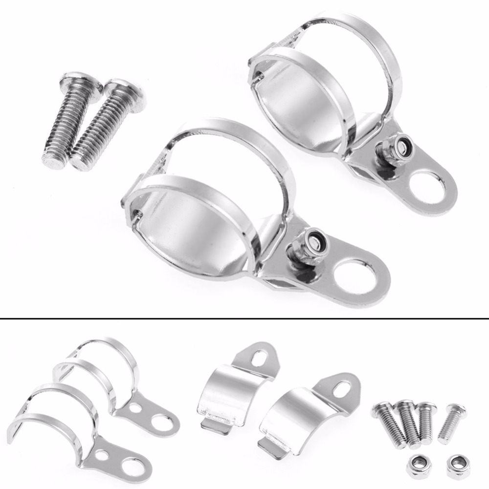2Pcs Silver Clamp Motorcycle Fork Ear Turn Signal Light Mount Brackets Holder title=