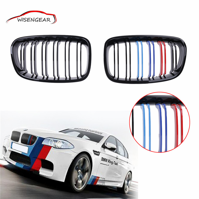 High Quality Double 2 Line Gloss Black Front Grill Kidney Grilles For BMW F20 F21 M Sport 2010-2014 C/5 !<br><br>Aliexpress
