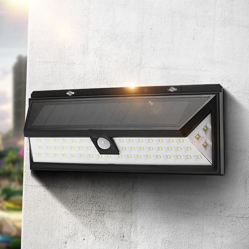 Solar Power 6W PIR Motion Sensor 54 LED Solar Light Outdoor Garden Light Waterproof Security Wide Angle Wall Lamp<br>