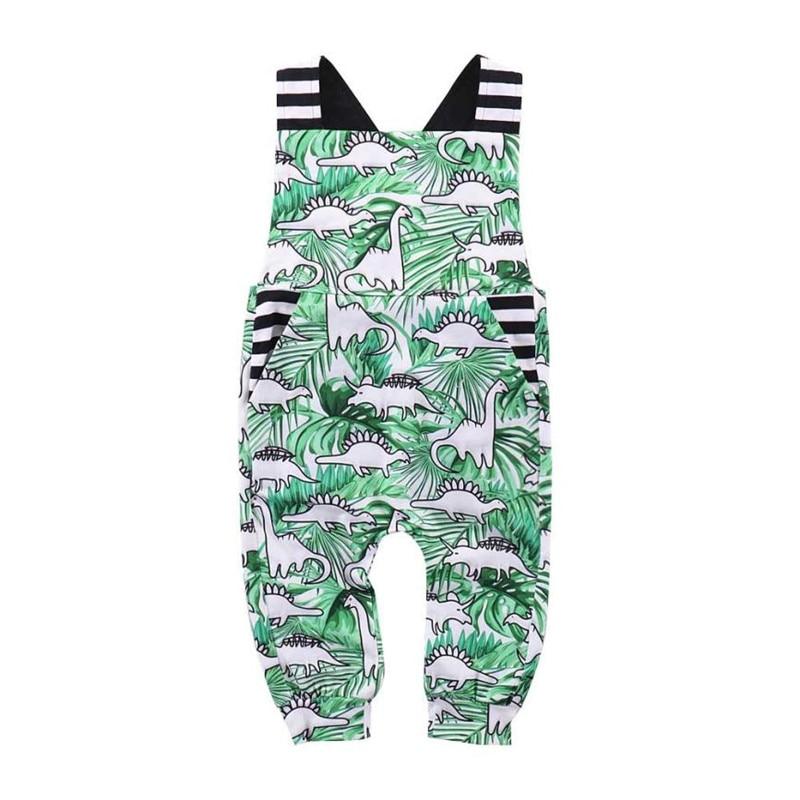 Bébé garçon fille dinosaure rayé barboteuse combinaison vêtements mignons
