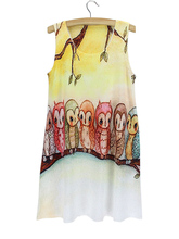 2015 desinger discount cat vestido de festa cheap short bird thite party dresses floral animal printed long o neck female tshirt(China)