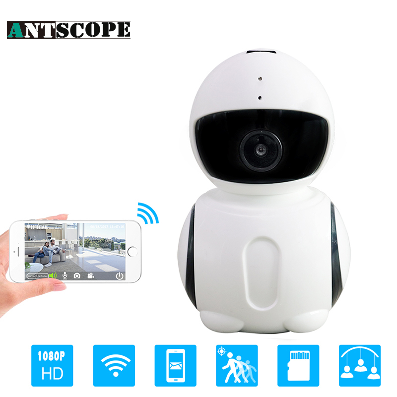 Antscope Robot HD1080P 2MP WIFI IP Camera Brand Night Vision Security Camera IR Mini Robot Indoor Home Office Wi-fi One Reset<br>