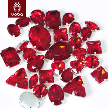 Light Red/ Siam Color Mixed Shapes Sizes Sew On Rhinestone with Claw Glass Sewing Loose Crystal Beads for Shoes & Dresses Y3512(China)