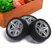 4Pcs Simulation Tire 1/10 Scale 48mm Rubber Wheel Hub Toy Black Road Car Truck