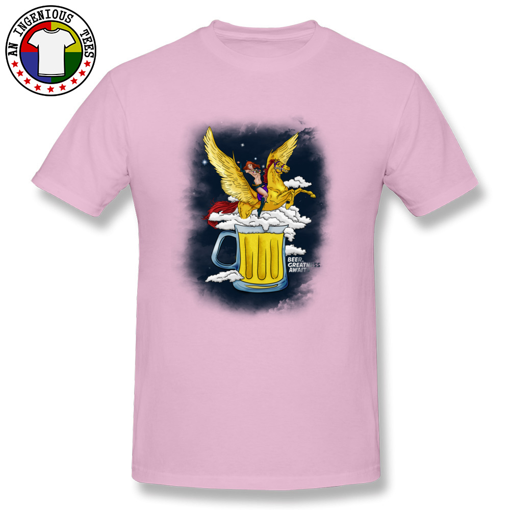 Beer Greatness Awaits Casual Tops Shirts Short Sleeve for Men Pure Cotton Summer Crew Neck T Shirts Custom Tees Fashionable Beer Greatness Awaits pink