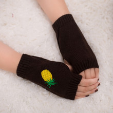 Women Girl Knitted Arm Fingerless Warm Winter Gloves Soft Warm Mitten Fashion Embroidered pineapple knitting gloves For Female(China)
