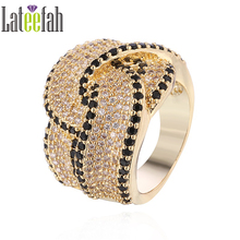 Lateefah Personalized Design Wedding Ring for Jewelry Collection Pave Setting Cross Over Big Gold Ring Brilliant Promise Ring