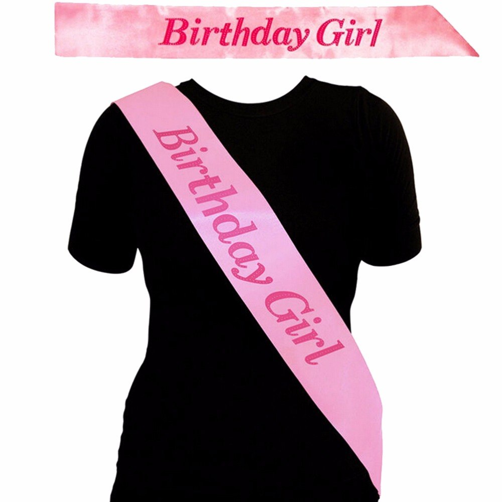 Event Party Supplies ink BIRTHDAY GIRL Sash in PINK Birthday Party Accessory Decoration Girls Night Souvenir Ribbons