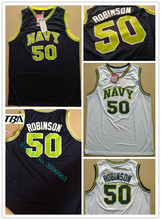 NEW Basketball Throwback David Robinson Jerseys #50 Naval Academy NAVY USNA College Basketball White Jersey Stitched Shirts(China)