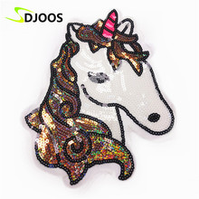 Unicorn Applique Embroidery Patch Clothes Logo Biker Motorcycle Cartoon Iron on Patches for Clothing Tops Jeans Jackets Vest DIY(China)