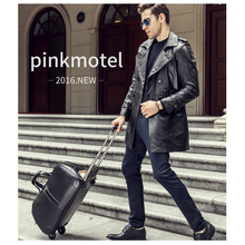 Letrend New Fashion Luxury High-grade waterproof Cowhide Travel Bag Men Genuine Leather Trolley bag Hand Boarding Luggage Trunk