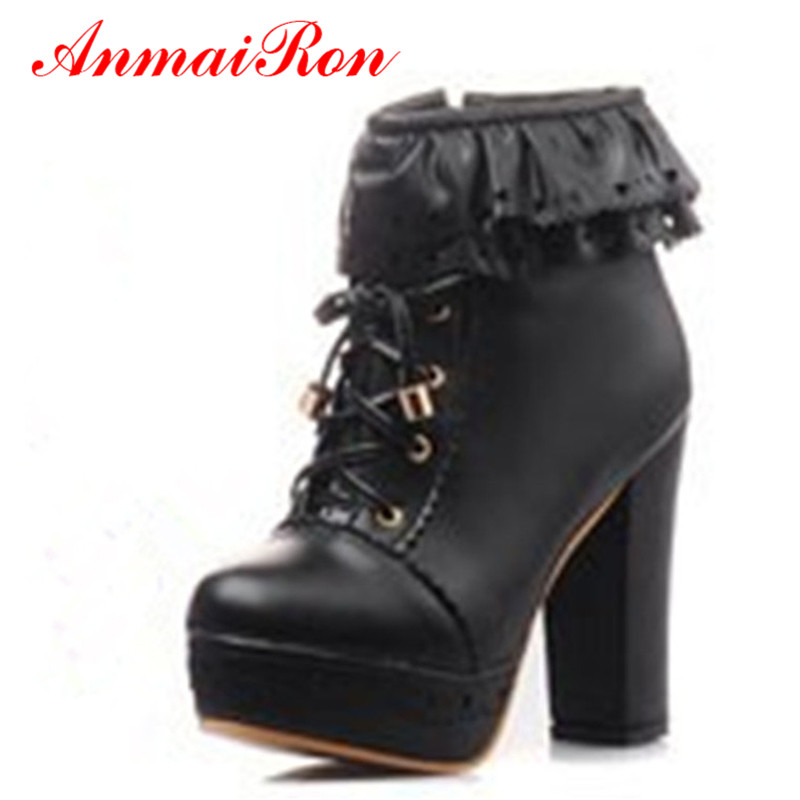 ANMAIRON Motorcycle Boots Punk Rock New Round Toe Ankle Boots for Women Snow Platform Warm Women Boots Girls Lolita Shoes<br><br>Aliexpress