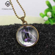 Hot FOMALHAUT Crystal glass Ball Purple grass Long Strip Leather Chain Dried flower Pendant Necklace Women 2016 Jewelry XX-22