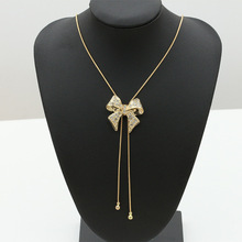 Buy Elegant Butterfly Bowknot Long Beaded Chain Tassel Pendant Necklace Women Rhinestone Office Accessories Bohemia Costumes Jewelry for $1.47 in AliExpress store