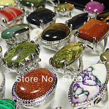 Big Promotions 20pcs Big Natural Stones Fashion Silver Plated Womens Mens Rings Wholesale Jewelry Lots A-032