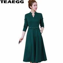 b10f7d3968 TEAEGG 2017 V-neck Green Dress Female Elegant Plus Velvet Long Sleeve Dress  Women Slim Autumn Winter Dresses Large Sizes AL634