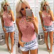 Buy Women Knitted Bodycon Jumpsuit Rompers 2018 Sexy Sleeveles Halter Floral Lace Crochet Bodysuit Boho Summer Jumpsuits Tops 2018