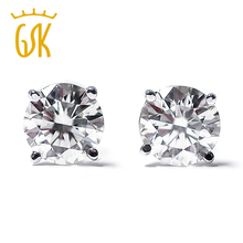 GemStoneKing 14K White Gold 0.20 Ct Natural Diamond Stud Earrings For Women(China)