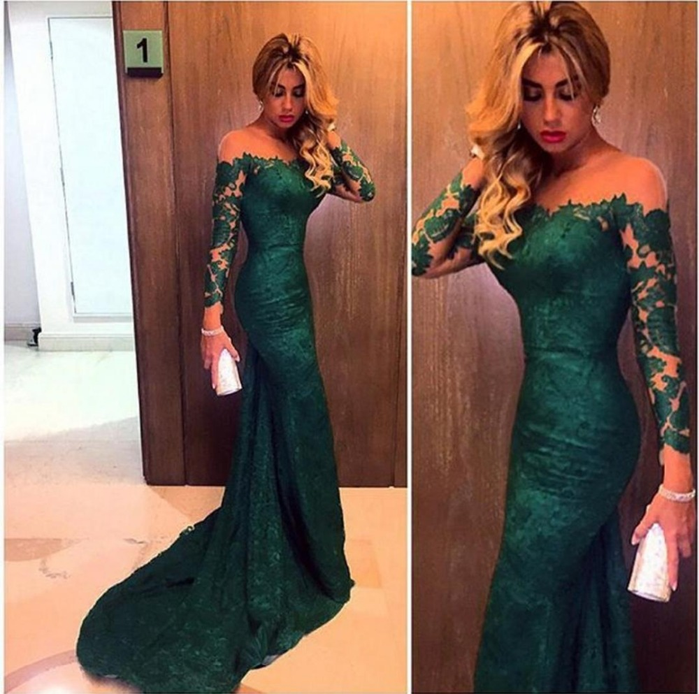 2017 Dark Green Evening Dresses Long Sleeve Custom Made Mermaid Prom Dress Gown For Women Formal Party