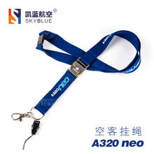 Airbus A320neo Lanyard with Metal Buckle Blue Ribbon Rope Sling for ID Case Holder for Pilot Aviation Lover Airman Flight Crew