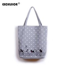 EXCELSIOR Women's Cute Cartoon Music Cats Printed Shopping Handbag Ladies One Shoulder Canvas Bags Female Beach Bag Sac A Main(China)